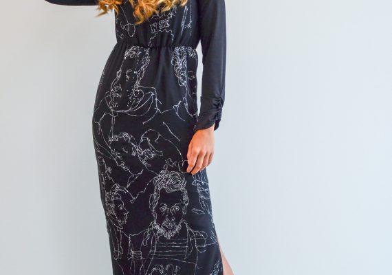 Black dress with hand made drawn white figure design I.