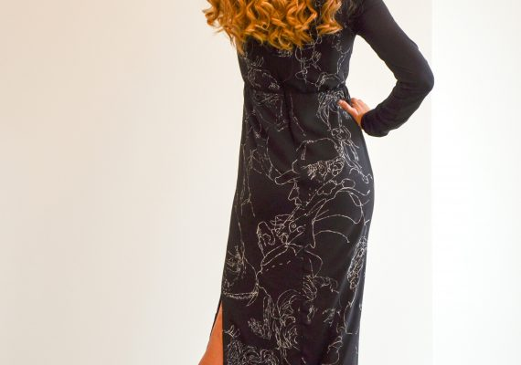 Black dress with hand made drawn white figure design II.