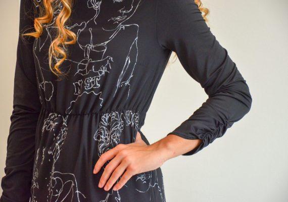 Black dress with hand made drawn white figure design III.