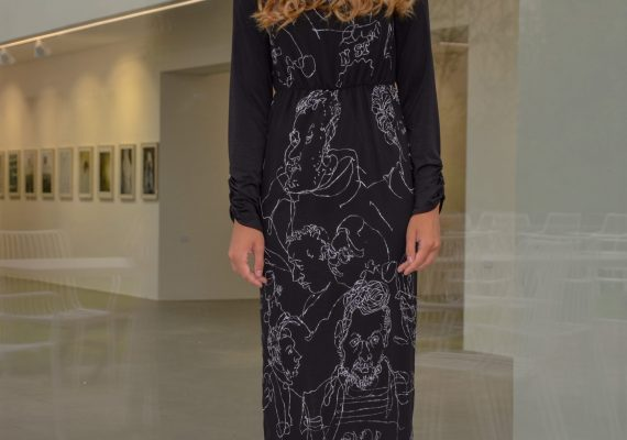 Black dress with hand made drawn white figure design IV.