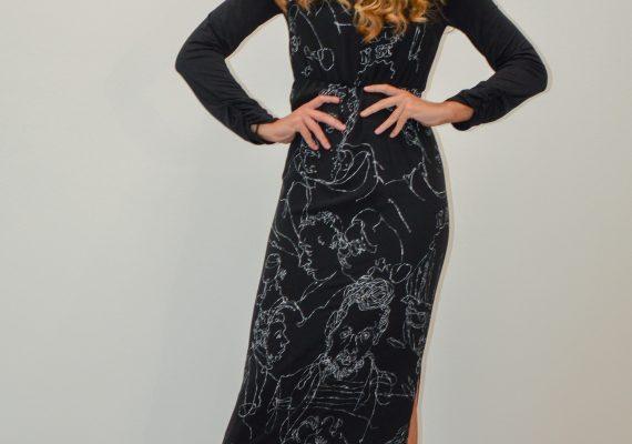 Black dress with hand made drawn white figure design VI.