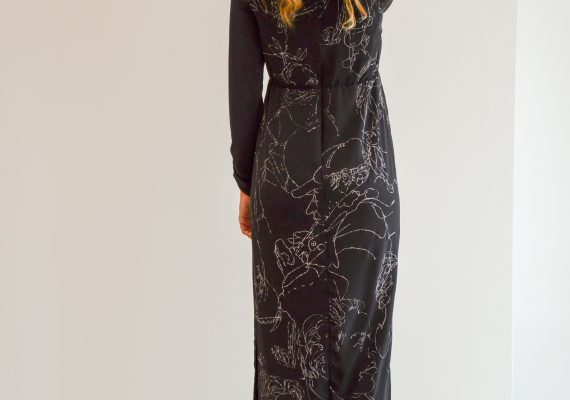 Black dress with hand made drawn white figure design VII.
